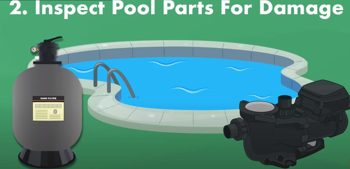 inspect the pool filter system, pumps, return line, and other areas for damage
