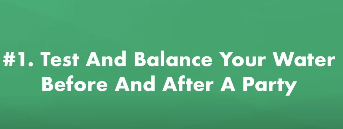 test and balance your water before and afte